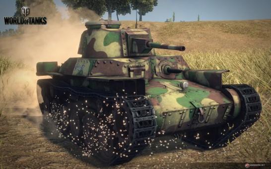 World of Tanks内のゲーム画像。旧日本軍の主力戦車だった九七式中戦車チハの勇姿がCGで蘇る。