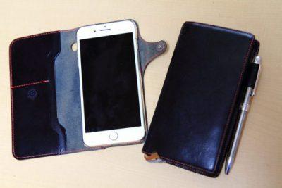手帳型革カバーのiPhone7plus(左)とオリジナル革カバーに収まった能率手帳(NOLTY)のエクセル4