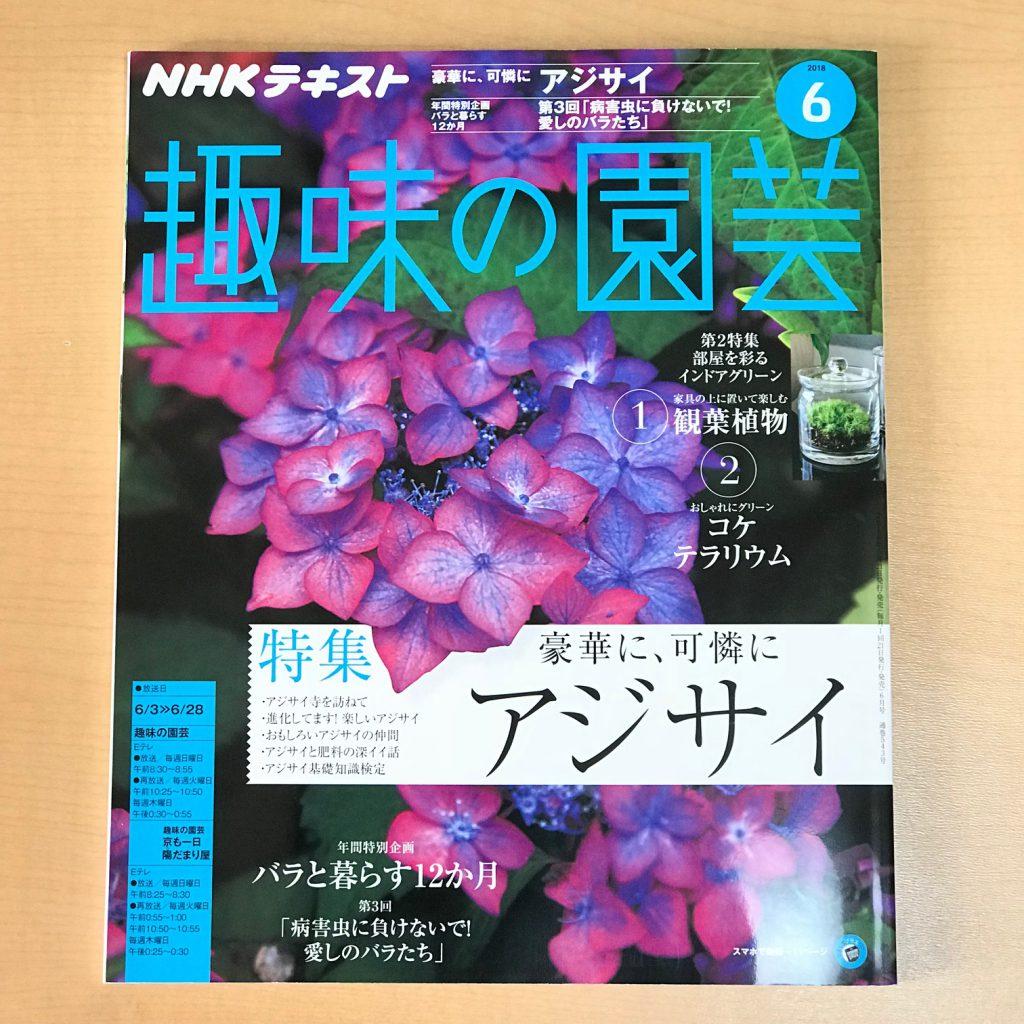 趣味の園芸6月号は、梅雨の景色に似合う、アジサイが表紙です。